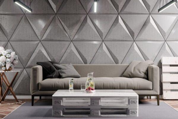 beton architektoniczny trójkąty na ścianie